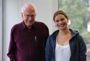 Maria nach ihrem Interview mit dem Nobelpreisträger Peter Higgs (Foto: Peter Tuffy).