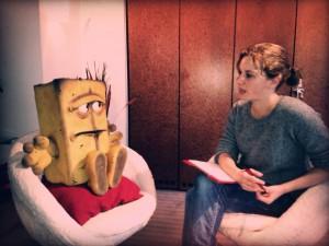 Maria bei einem Interview mit Bernd das Brot (Foto: Tommy Krappweis).