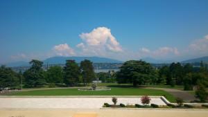 Blick vom Gebäude der United Nations auf den Genfer See (Foto: Stefan Kloth)